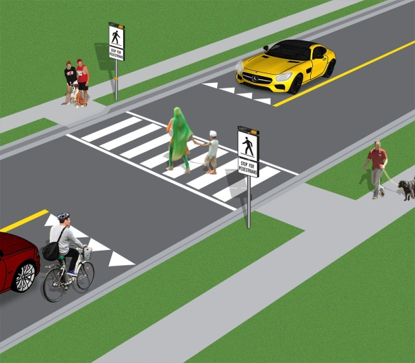 Pedestrians crossing at a crossover