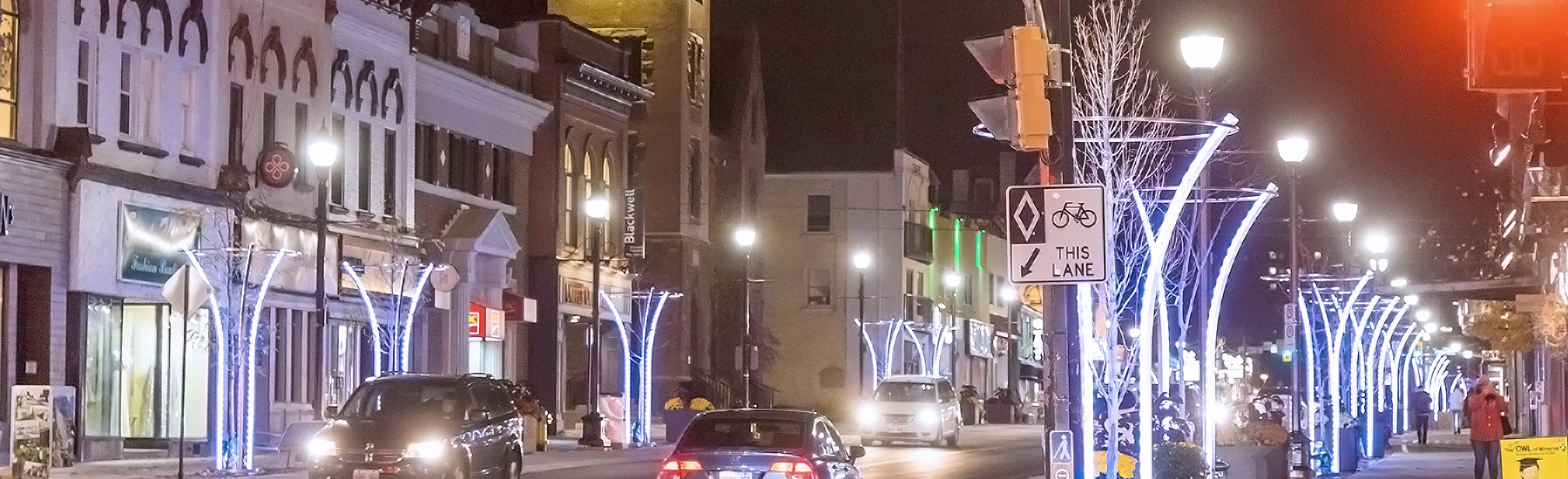 Uptown waterloo at night in the winter