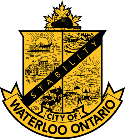 City of Waterloo's official crest in black and yellow